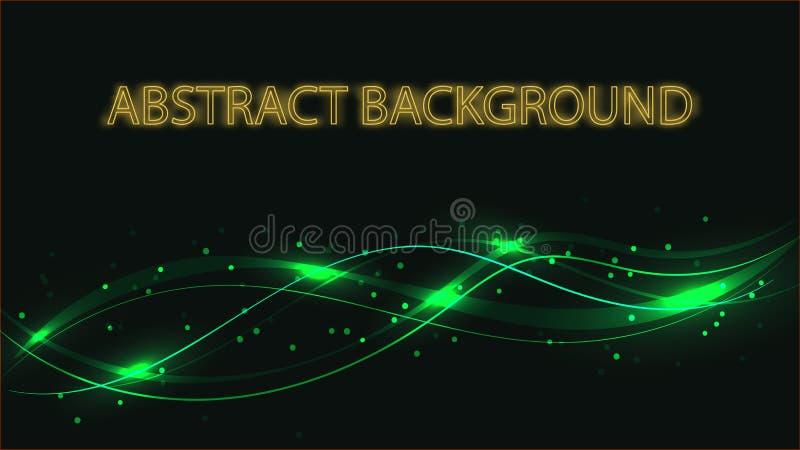 Abstrakta tła zielona tekstura magiczne laserowe piękne cyfrowe rozjarzone jaskrawe fale linie zespoły energetyczny elektryczny royalty ilustracja
