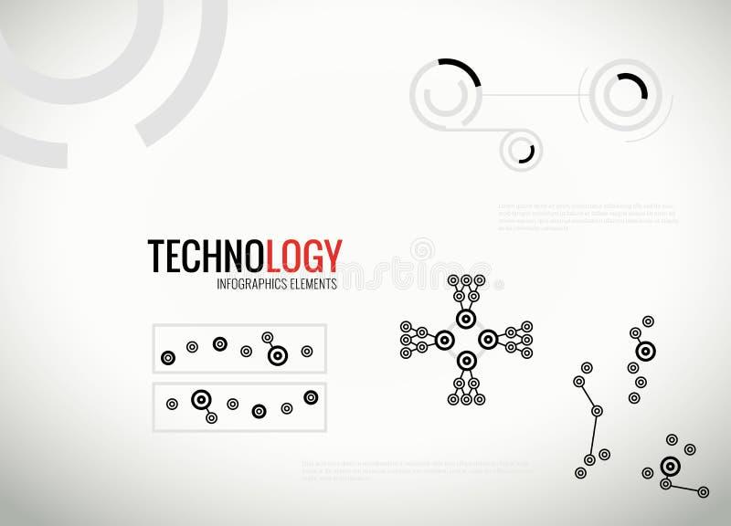 Abstrakta teknologiinfographicsbeståndsdelar stock illustrationer