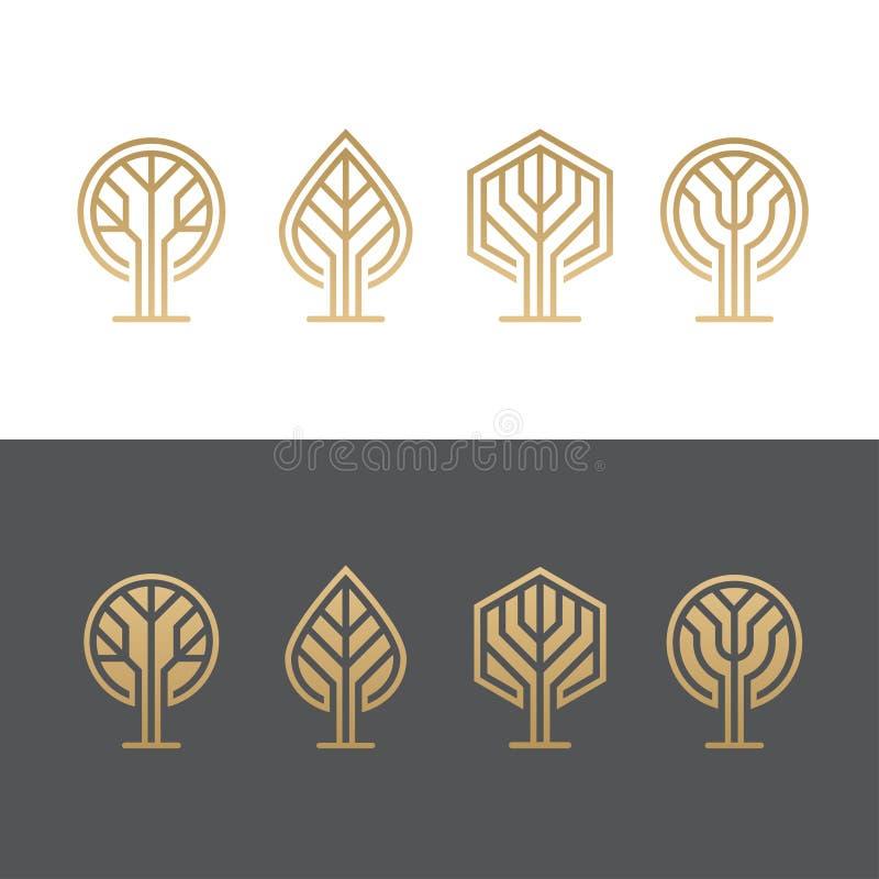 Abstrakta trädlogoer royaltyfri illustrationer