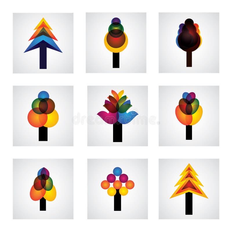 Abstrakta trädsymboler av sörjer, jul - vektordiagram vektor illustrationer