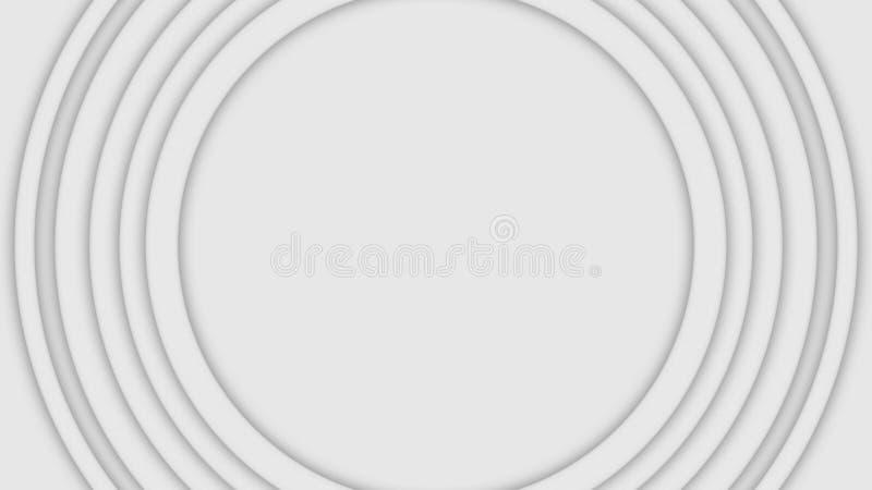 Abstrakta tredimensionella cirklar flyttar sig p? vit bakgrund djur Pulserar spirala cirklar f?r lager i stora partier att ?ka in arkivfoton