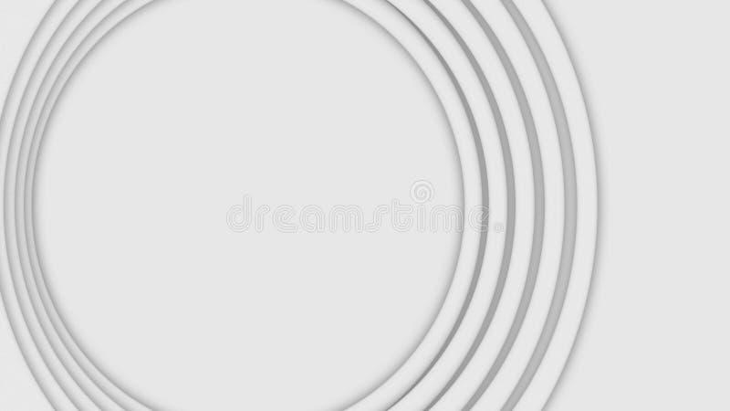 Abstrakta tredimensionella cirklar flyttar sig p? vit bakgrund djur Pulserar spirala cirklar f?r lager i stora partier att ?ka in royaltyfri fotografi