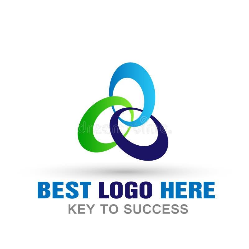 Abstrakta trzy owalu logo, sukces na Korporacyjnego związku komunikacyjnego pojęcia Biznesowym logu dla firmy na białym tle ilustracja wektor