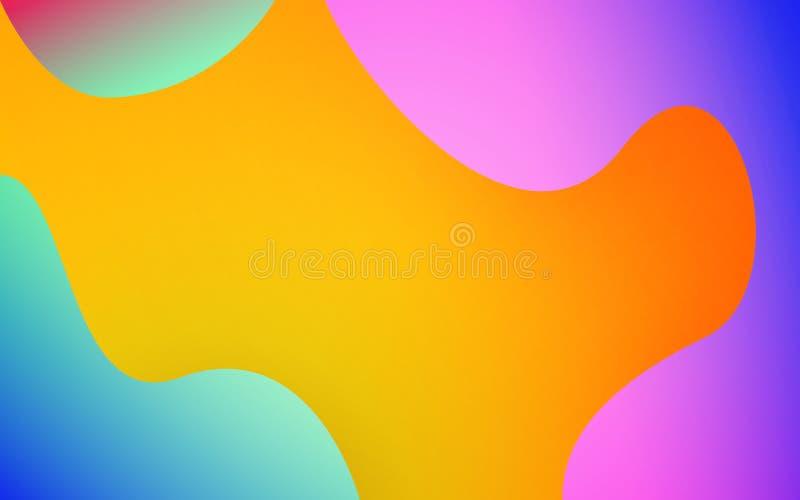 Abstrakta vätskeformer färgrik bakgrund Moderiktig design för affischen, räkning, rengöringsduk Ljusa lutningsuddigheter modern v stock illustrationer