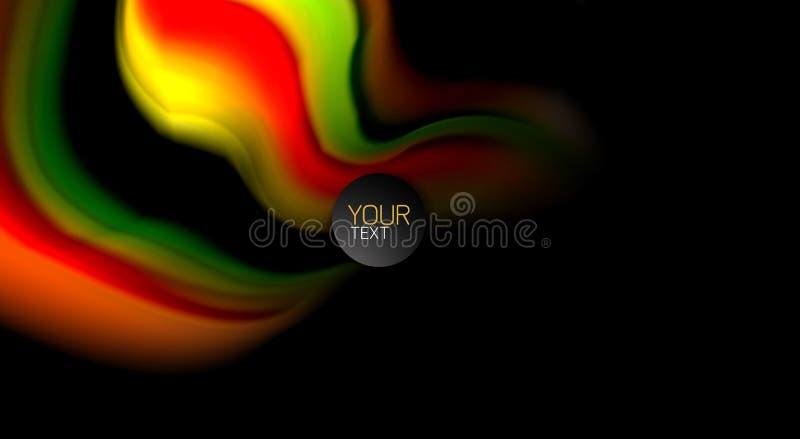 Abstrakta våglinjer fluid band för regnbågestilfärg på svart bakgrund Konstnärlig illustration för presentationen, app vektor illustrationer