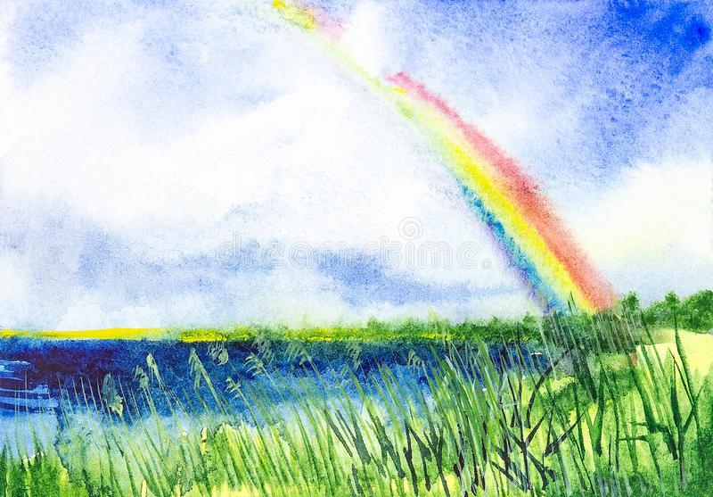 Abstrakta vattenfärgillustrationer av regnbågen över sjön på det ryska fältet stock illustrationer