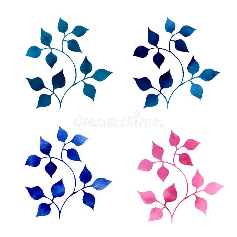 Abstrakta vattenfärgkonturer av växter stock illustrationer