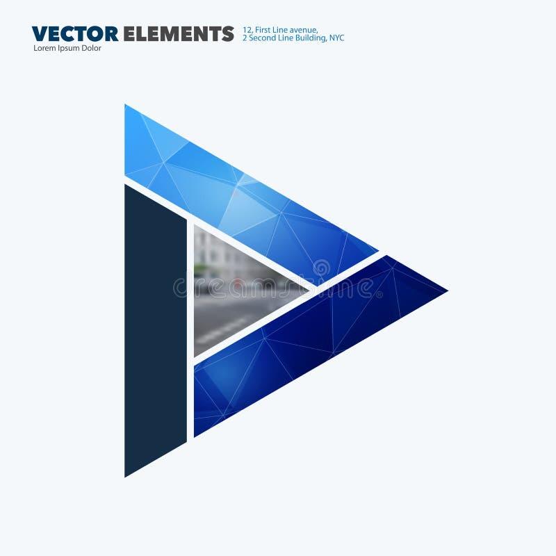 Abstrakta vektordesignbeståndsdelar för grafisk orientering Modern affärsbakgrundsmall med färgglade trianglar, royaltyfri illustrationer