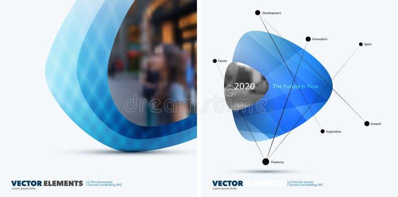 Abstrakta vektordesignbeståndsdelar för grafisk orientering Modern busin stock illustrationer