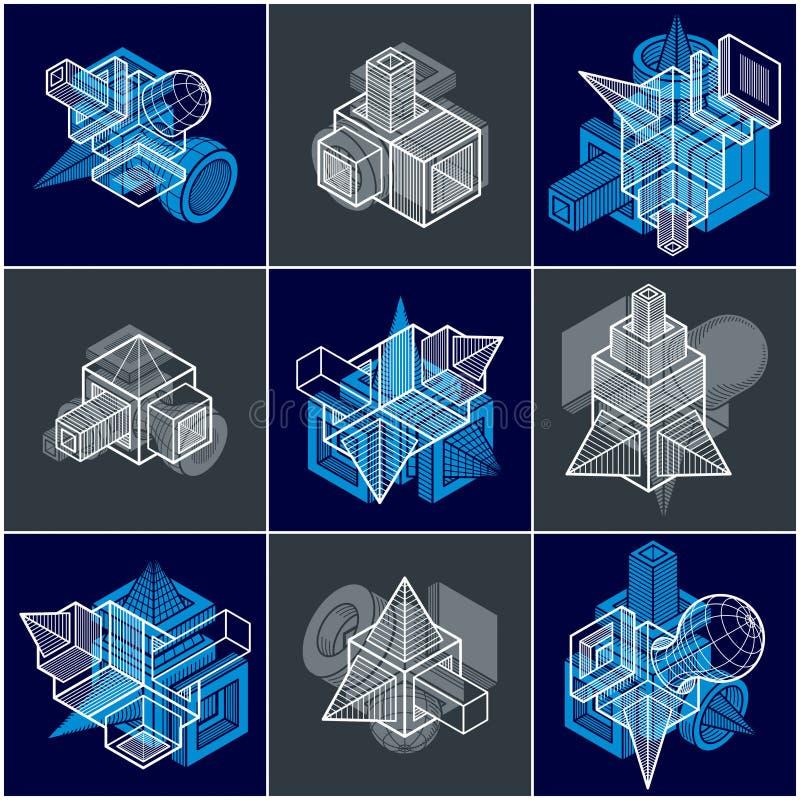 Abstrakta vektorer, enkla geometriska former 3D ställde in stock illustrationer