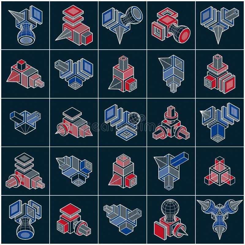 Abstrakta vektorer, enkla geometriska former 3D ställde in royaltyfri illustrationer