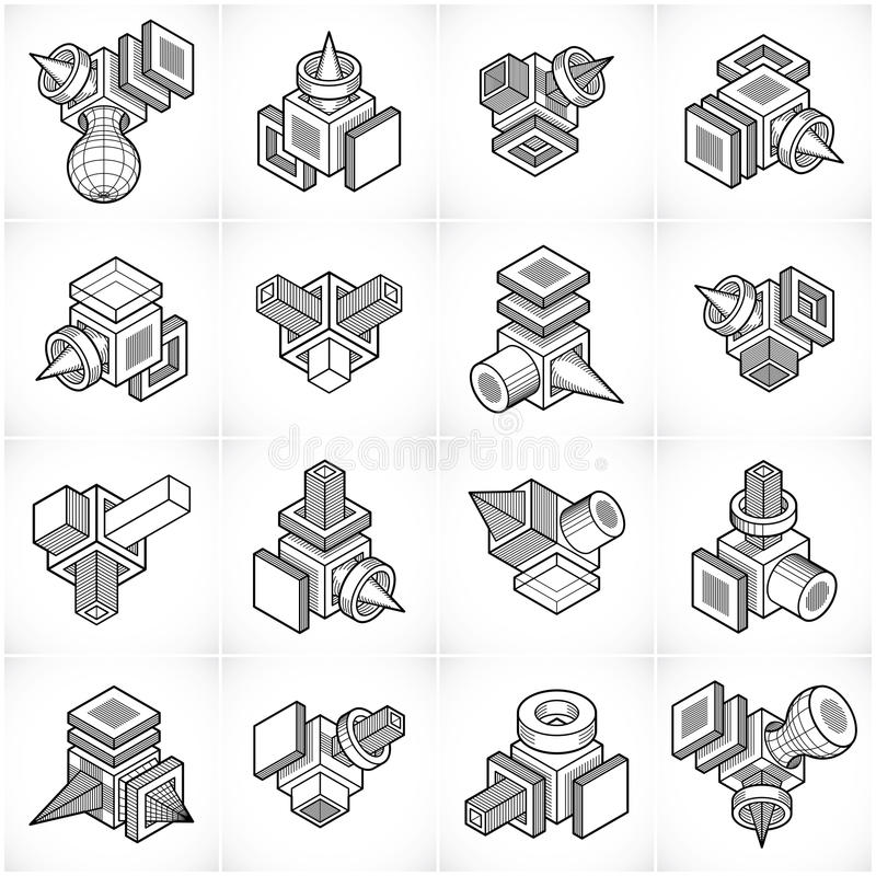 Abstrakta vektorer ställde in, den isometriska dimensionella formsamlingen stock illustrationer