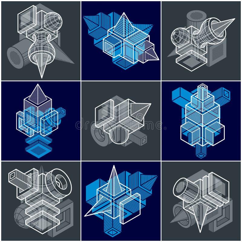 Abstrakta vektorer ställde in, den isometriska dimensionella formsamlingen vektor illustrationer