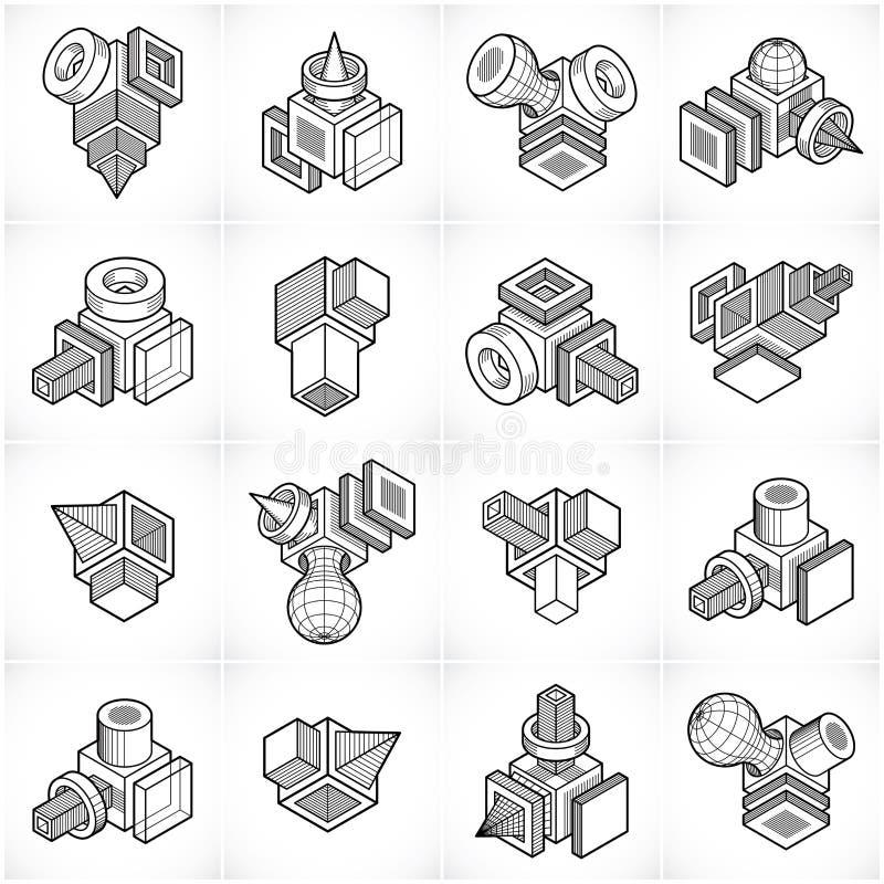 Abstrakta vektorer, uppsättning för former 3D royaltyfri illustrationer