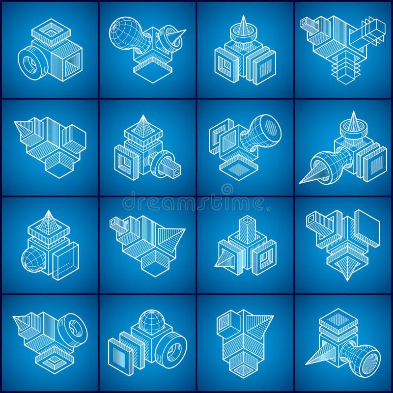Abstrakta vektorer, uppsättning för former 3D vektor illustrationer