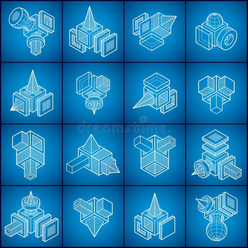 Abstrakta vektorer, uppsättning för former 3D stock illustrationer