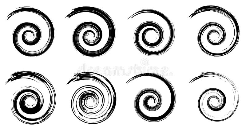 Abstrakta vektorspiralbeståndsdelar, radiella geometriska randiga modeller vektor illustrationer