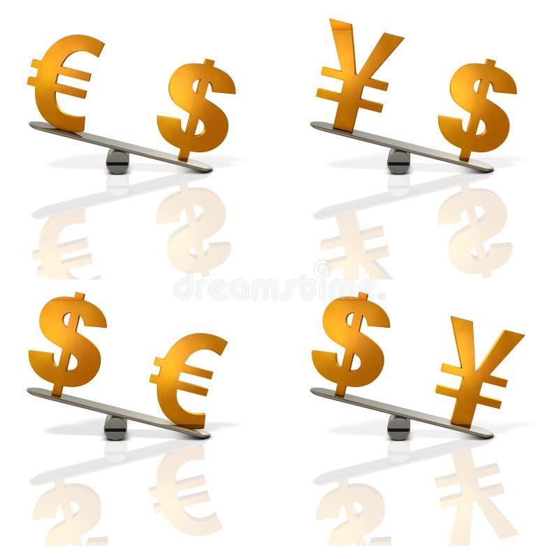 Abstrakta visninghastigheter för illustration 3DCG av euroet, japansk yen, dollar vektor illustrationer