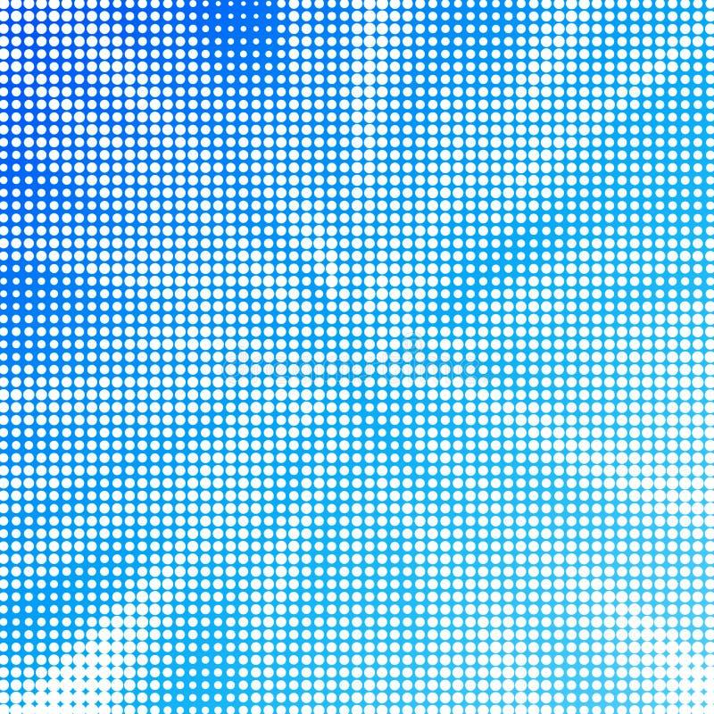 Abstrakta vita Halfton prickar i blå bakgrund royaltyfri illustrationer