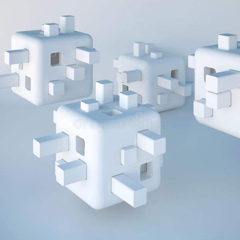 Abstrakta vita icke existerande former, futuristisk bakgrund stock illustrationer