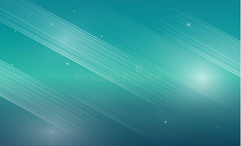 Abstrakta vita linjer på blå turkosbakgrund med glödande s royaltyfri illustrationer