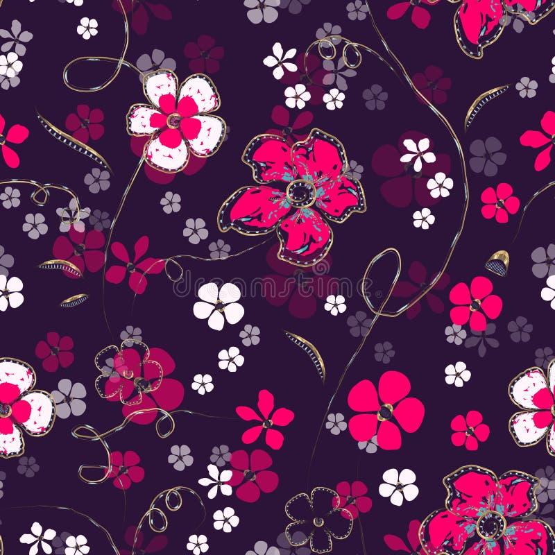 Abstrakta vita och ljusa rosa magentafärgade blommor och guld- kedjor med diamanter vektor illustrationer