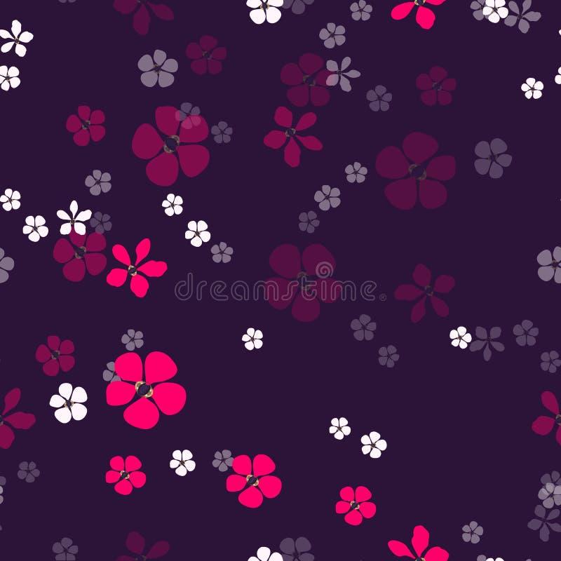 Abstrakta vita och magentafärgade blommor och guld med diamanter på mörk purpurfärgad bakgrund vektor illustrationer
