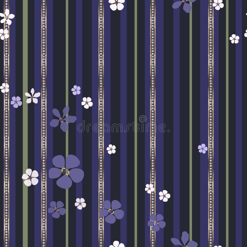Abstrakta vita och purpurfärgade blommor och guld- remsor med diamanter vektor illustrationer