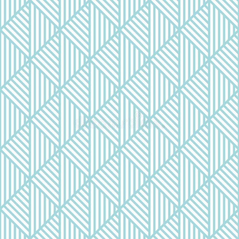Abstrakta vita triangellinjer för sömlös modell som är blåa och vektor illustrationer