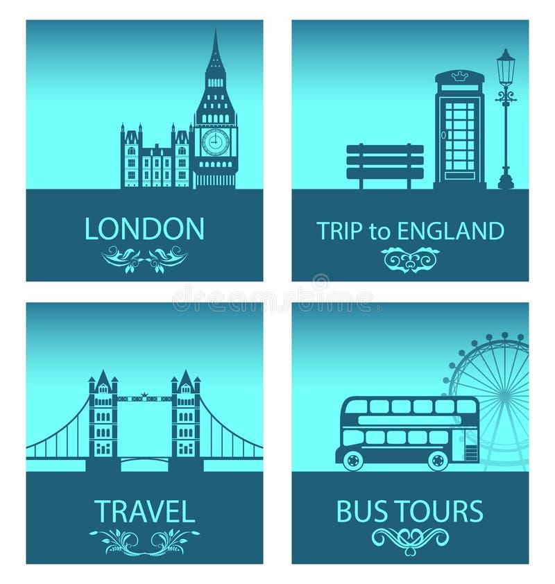 Abstrakta vykort för tur av England med konturbakgrund av abstrakt London horisont royaltyfri illustrationer