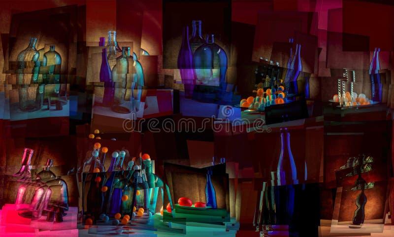 Abstrakta wciąż życia kolaż z glassware i piłkami zdjęcia royalty free