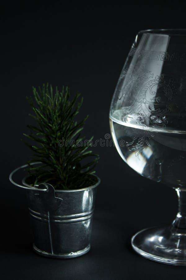 Abstrakta wciąż życie z szklanym szklanym szkłem woda zdjęcie royalty free