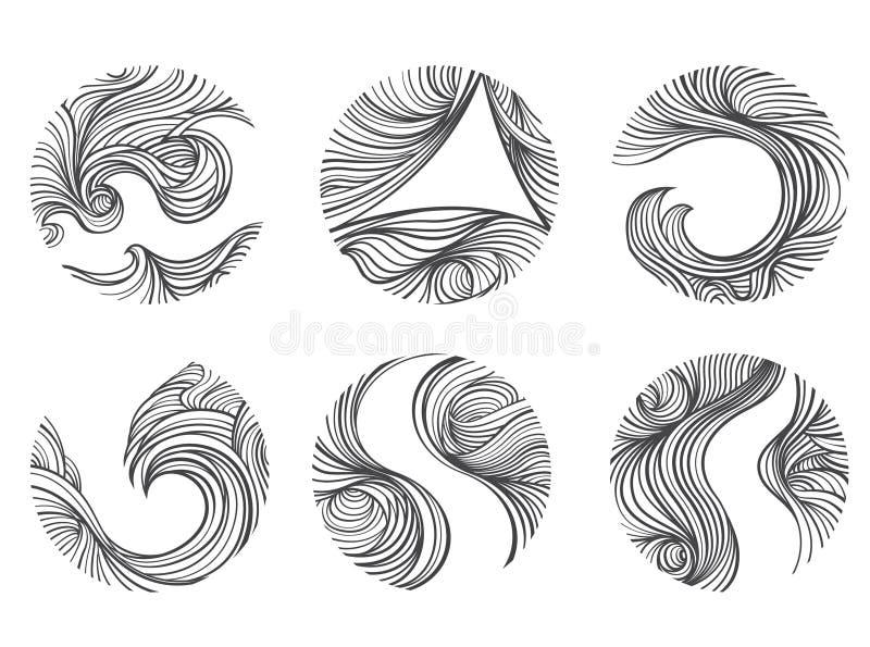 Abstrakta wiatru linii round kszta?ta logo ikony set Bia?y t?o royalty ilustracja