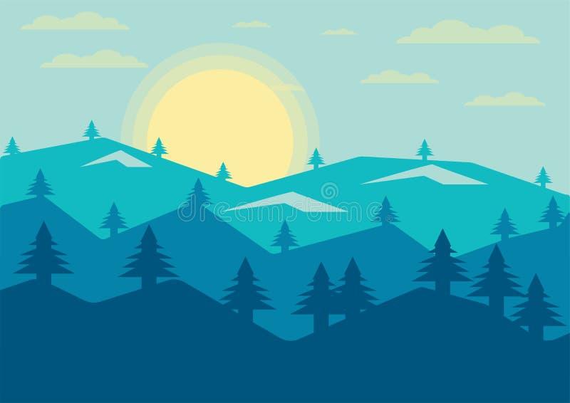 Abstrakta widoku górskiego wieczór słońca Krajobrazowy sosnowy tło ilustracja wektor