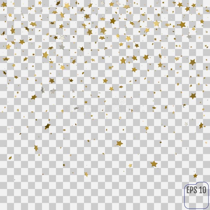 Abstrakta wzór przypadkowe spada złote gwiazdy na przejrzystym b royalty ilustracja