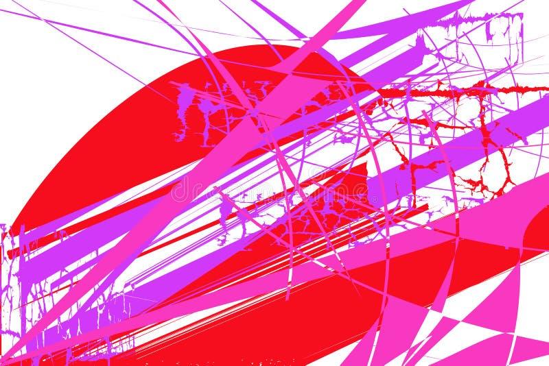 Abstrakta wzór z czerwieni, mauve i różowych elementami, ilustracja wektor