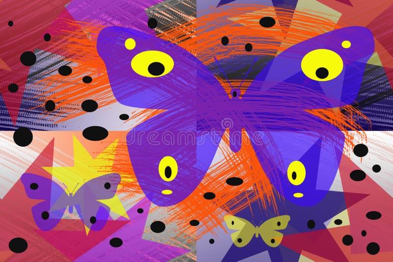 Abstrakta wzór z kolorowymi motylami royalty ilustracja