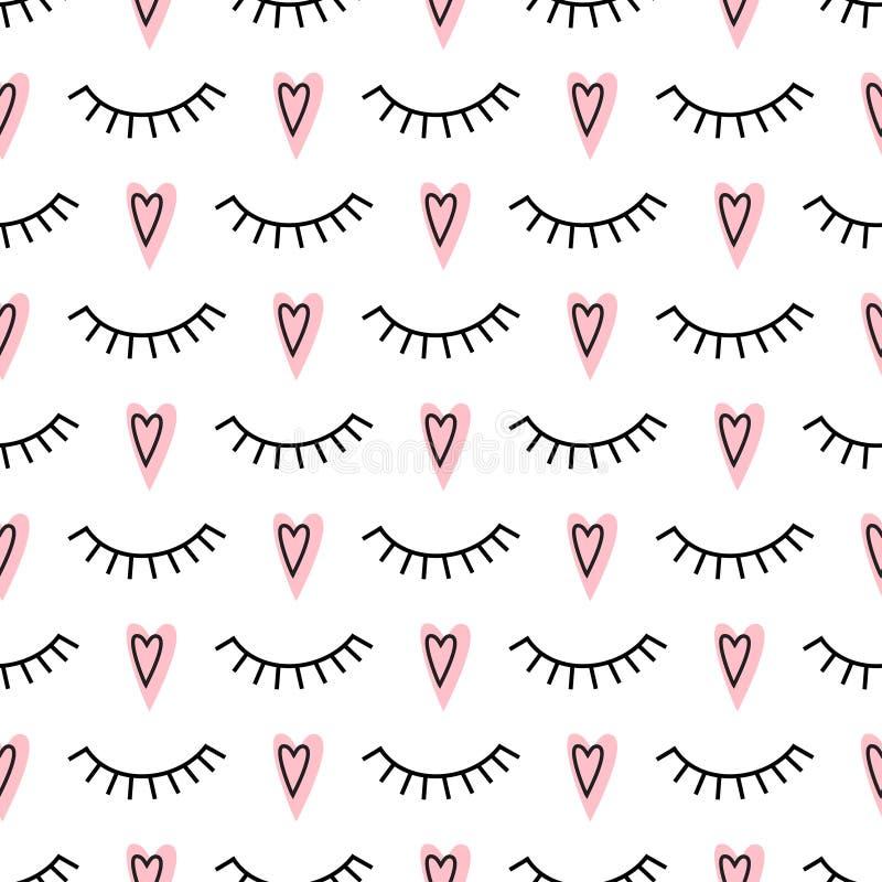 Abstrakta wzór z zamkniętymi oczami i różowymi sercami royalty ilustracja