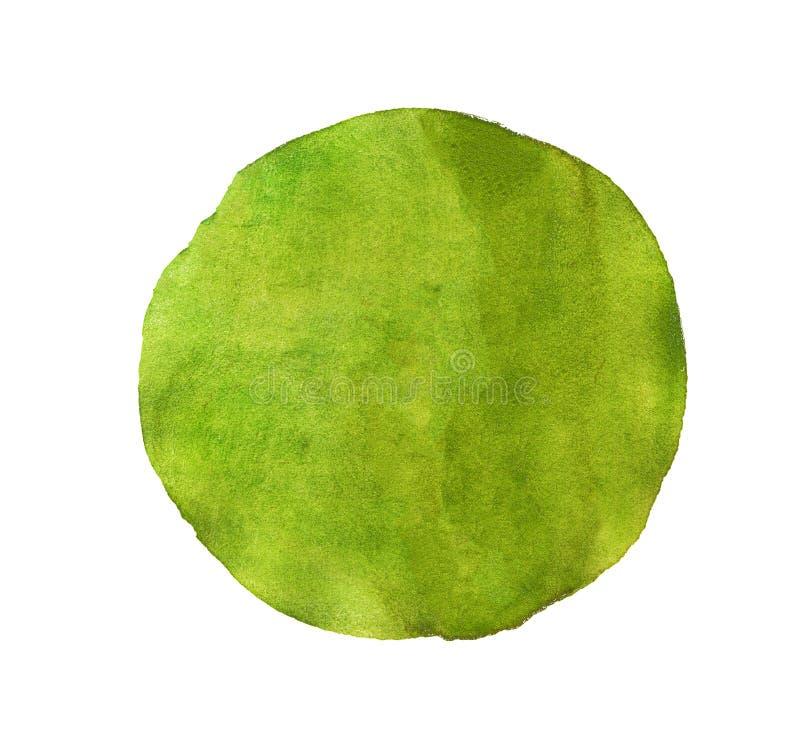 Abstrakta zielona akwarela malujący okrąg royalty ilustracja