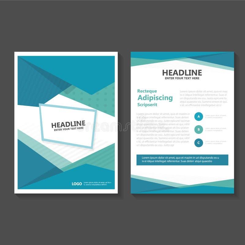 Abstrakta zielonego błękitnego wieloboka ulotki broszurki ulotki szablonu Wektorowy projekt, książkowej pokrywy układu projekt, a ilustracji