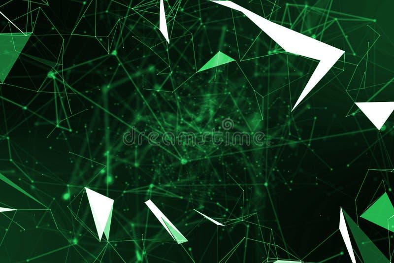 Abstrakta zielonego matrycowego geometrical plexus bieżący ruch na bla ilustracji