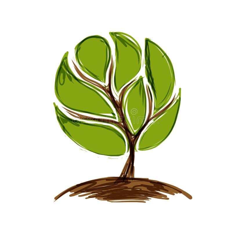 Abstrakta zielony drzewo dla twój projekta ilustracji