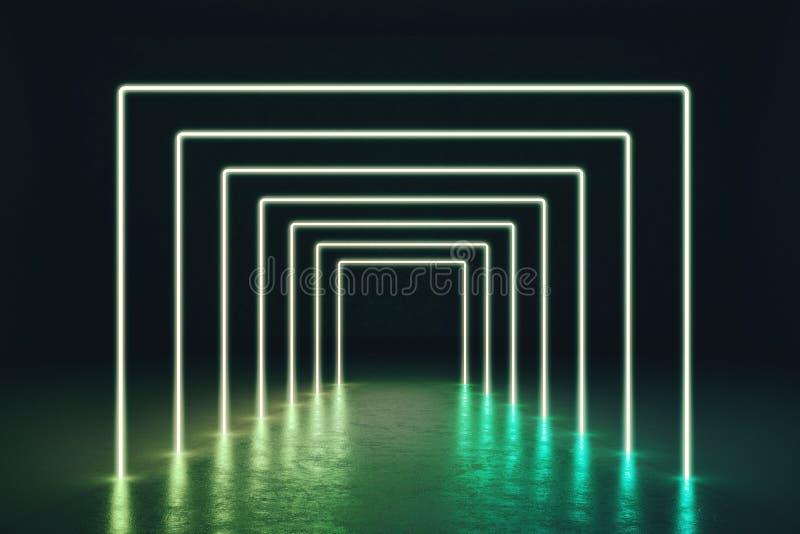 Abstrakta zielony neonowy korytarz royalty ilustracja