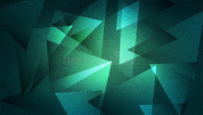 Abstrakta zielony tło cieniący paskował wzór i bloki w diagonalnych liniach z rocznikiem zielenieją teksturę royalty ilustracja