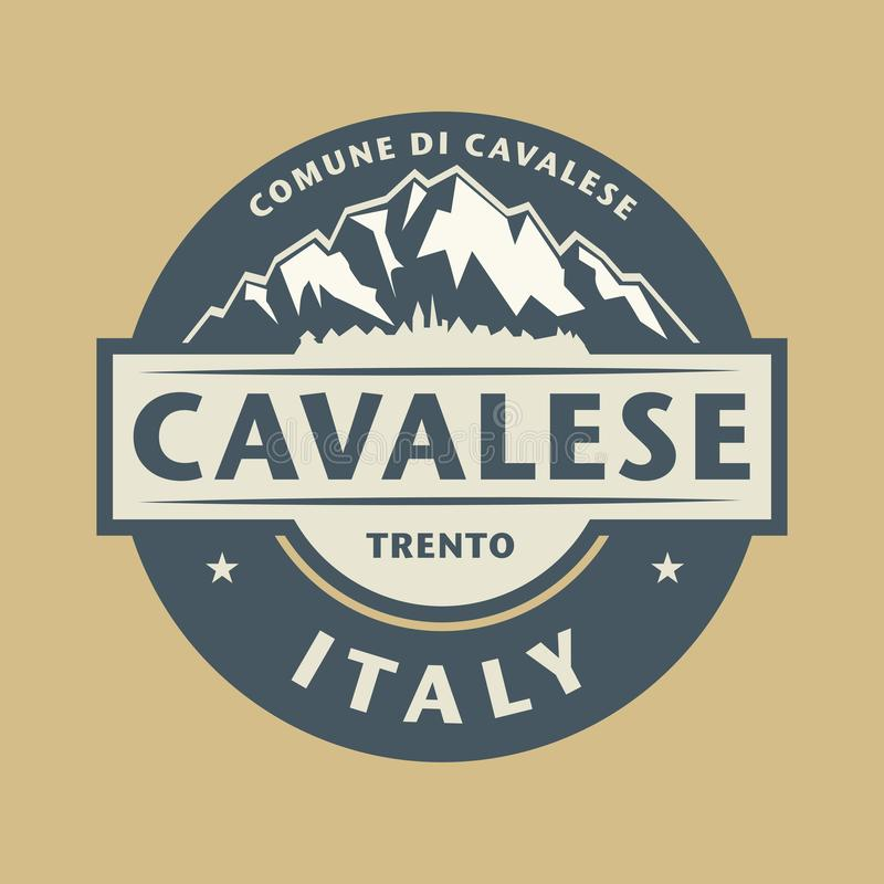 Abstrakta znaczek z imieniem grodzki Cavalese w Włochy royalty ilustracja