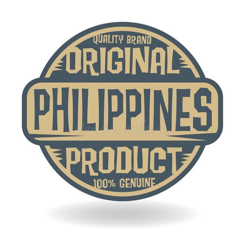 Abstrakta znaczek z teksta Oryginalnym produktem Filipiny royalty ilustracja