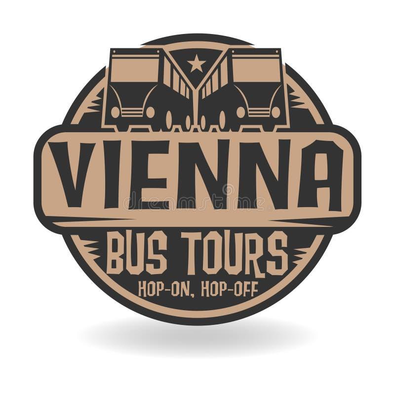 Abstrakta znaczek z tekstem Wiedeń, autobus Objeżdża royalty ilustracja