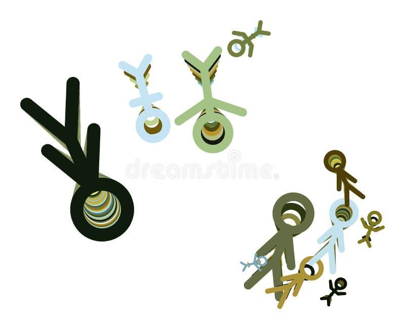 Abstrakta znak męski lub żeński generatywny sztuki tło Kanwa, rysunek & pojęcie, upaćkany, ilustracja wektor