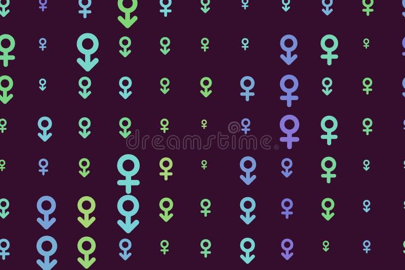 Abstrakta znak męski lub żeński generatywny sztuki tło Tapeta, szablon, projekt & ilustracja, royalty ilustracja