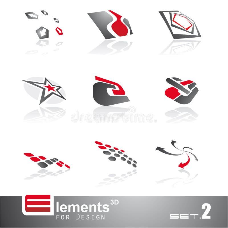 Abstrakte 3D Elemente - Set 2 lizenzfreie abbildung
